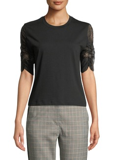 3.1 Phillip Lim Crewneck Cotton Tee with Lace Sleeves