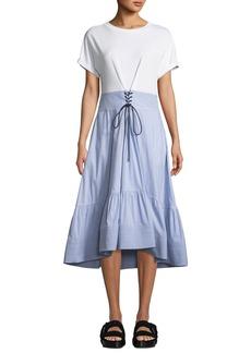 3.1 Phillip Lim Crewneck T-Shirt Dress with Corset Waist