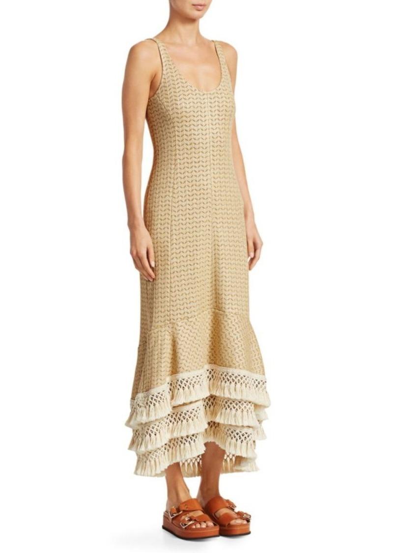 3.1 Phillip Lim Crochet-Knit Fringe Trim Dress