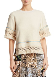 3.1 Phillip Lim Crochet-Knit Fringed Sweater