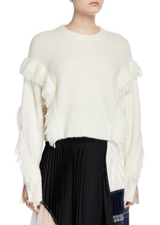 3.1 Phillip Lim Cropped Fringe-Sleeve Alpaca Sweater