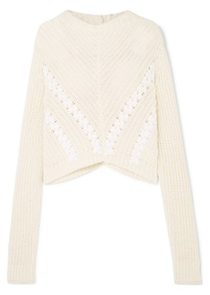 3.1 Phillip Lim Cropped Grosgrain-trimmed Ribbed Cotton Sweater