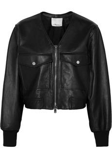 3.1 Phillip Lim Cropped leather bomber jacket