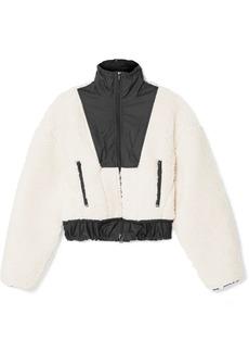 3.1 Phillip Lim Cropped Shell-paneled Wool-blend Fleece Bomber Jacket