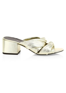 3.1 Phillip Lim Cube Twist Metallic Leather Block-Heel Mules