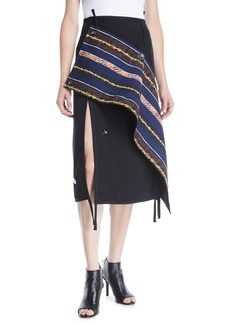 3.1 Phillip Lim Deconstructed Asymmetrical Wool Midi Skirt