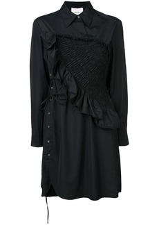 3.1 Phillip Lim diagonal ruched ruffle long sleeve dress