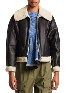 3.1 Phillip Lim Dolman Aviator Style Shearling-Trim Leather Jacket