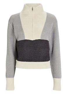 3.1 Phillip Lim Double-Faced Lurex Half-Zip Sweater