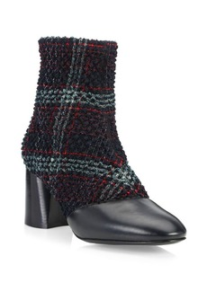 3.1 Phillip Lim Drum Tweed & Leather Heeled Ankle Boots