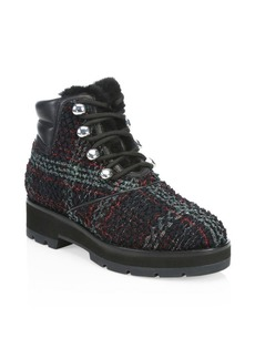 3.1 Phillip Lim Dylan Shearling-Lined Tweed Leather Hiking Boots