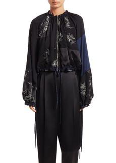 3.1 Phillip Lim Embellished Patchwork Silk Bomber Jacket