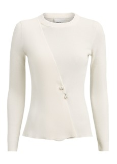 3.1 Phillip Lim Faux Pearl Brooch-Embellished Sweater