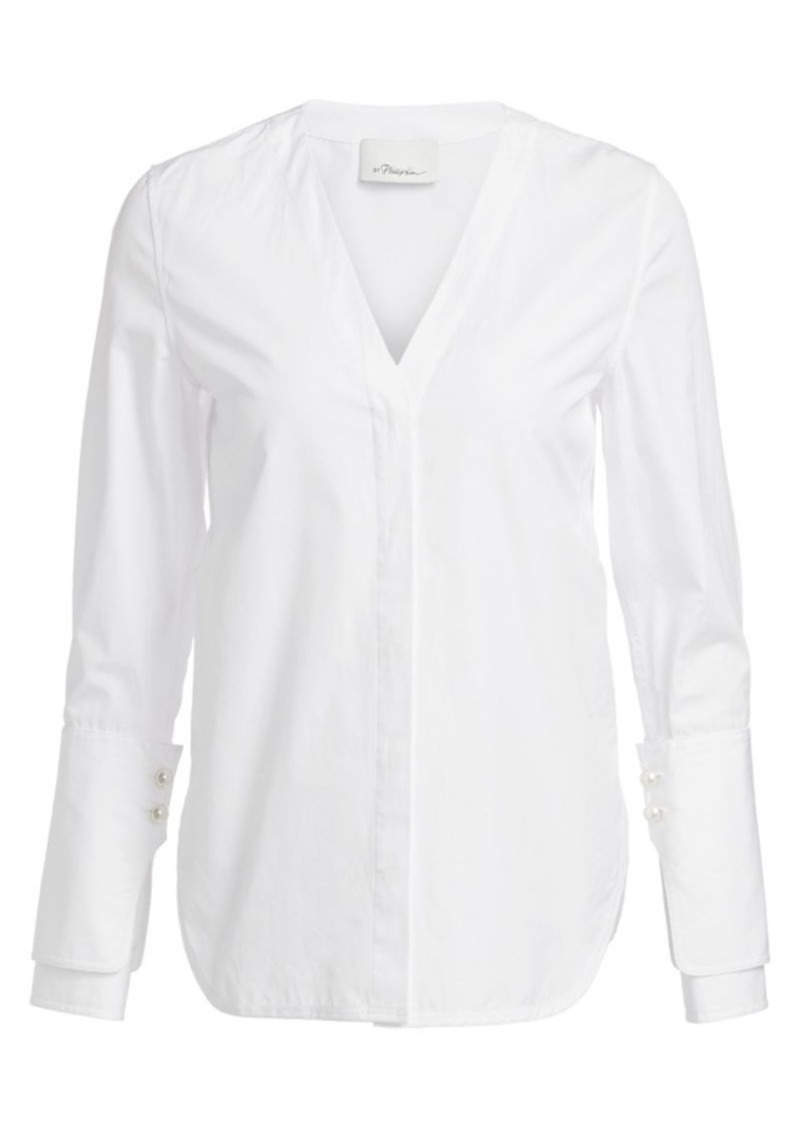 3.1 Phillip Lim Faux-Pearl Trim Cotton Shirt
