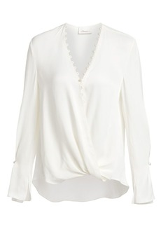 3.1 Phillip Lim Faux-Pearl Trim Satin Drape Blouse