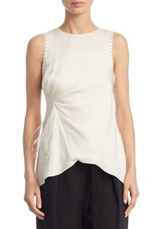 3.1 Phillip Lim Feather-Trimmed Silk Tank Top
