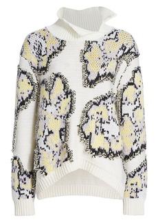 3.1 Phillip Lim Fil Coupe Abstract Daisy Stretch-Wool Sweater