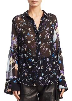 3.1 Phillip Lim Floral Bell-Sleeve Silk Top