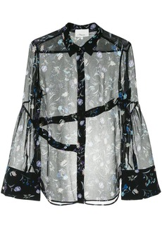 3.1 Phillip Lim floral embroidered sheer shirt
