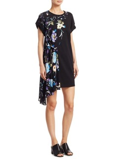 3.1 Phillip Lim Floral Silk Asymmetric Tee Dress