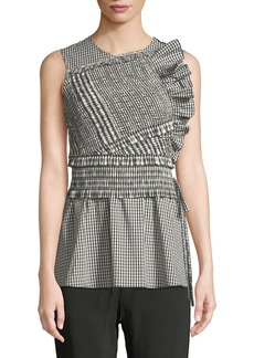 3.1 Phillip Lim Gathered Gingham Ruffle Tank
