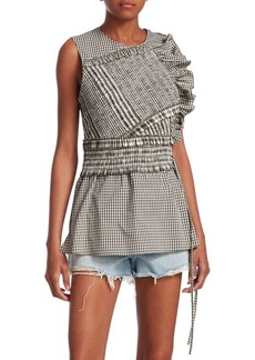 3.1 Phillip Lim Gathered Gingham Tank