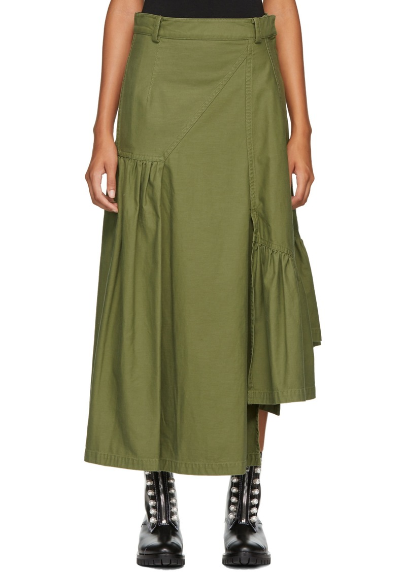 caf67062a36 3.1 Phillip Lim Green Layered Utility Maxi Skirt