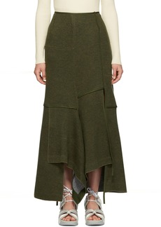 3.1 Phillip Lim Green Military Patch Wool Skirt