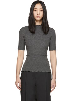 3.1 Phillip Lim Gunmetal Lurex Ribbed Short Sleeve Top