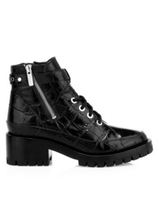 3.1 Phillip Lim Hayett Croc-Embossed Leather Combat Boots