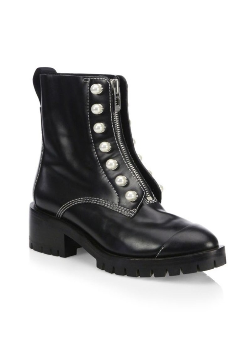 3.1 Phillip Lim Hayett Pearl Embellished Leather Combat Boots