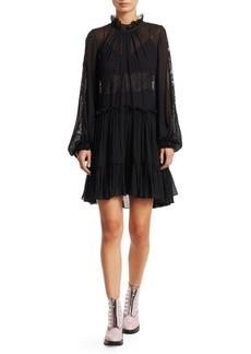 3.1 Phillip Lim Lace & Stretch-Silk Flounce Dress