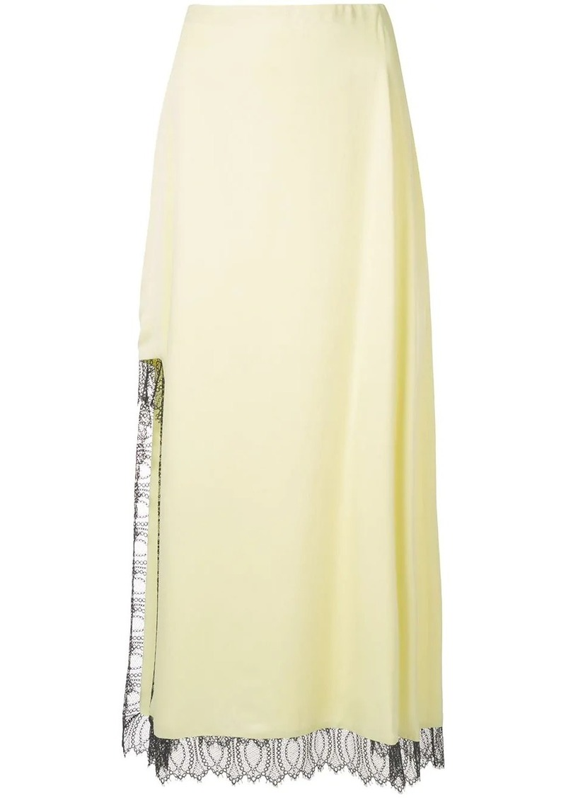 3.1 Phillip Lim lace detailed high slit skirt