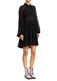 3.1 Phillip Lim Lace & Stretch-Silk Flounce Dress