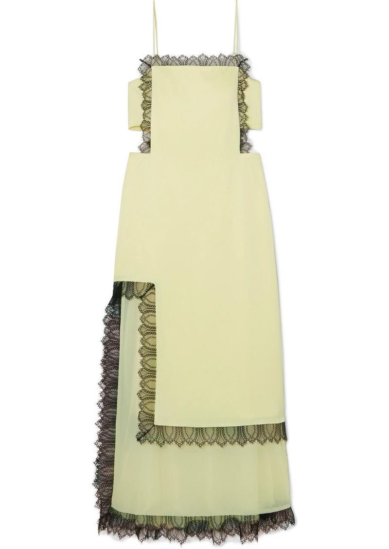 3.1 Phillip Lim Lace-trimmed Cutout Satin Maxi Dress