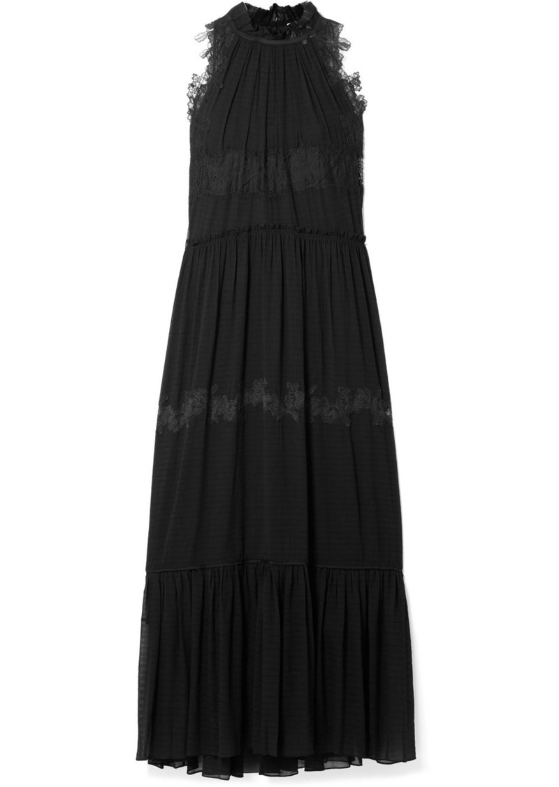 3.1 Phillip Lim Lace-trimmed Stretch-silk Crepon Maxi Dress