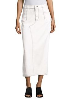 3.1 Phillip Lim Lace-Up Cotton Denim Midi Skirt