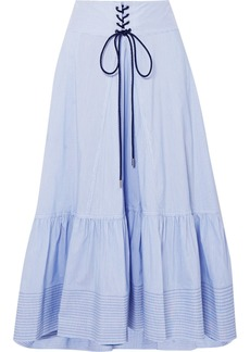 3.1 Phillip Lim Lace-up Striped Cotton-blend Poplin Midi Skirt