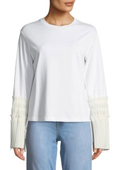 3.1 Phillip Lim Long-Sleeve Crewneck Top with Pleated Cuffs