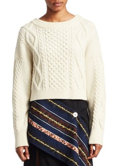 3.1 Phillip Lim Long-Sleeve Cropped Boxy Cable Knit Sweater