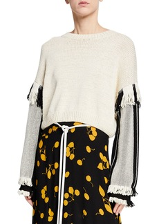 3.1 Phillip Lim Long-Sleeve Cropped Fringe Pullover