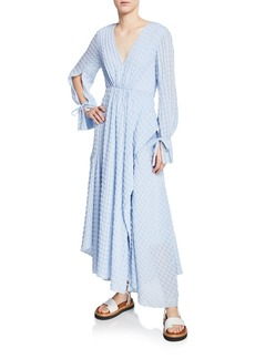 3.1 Phillip Lim Long-Sleeve Flare Chiffon Maxi Dress