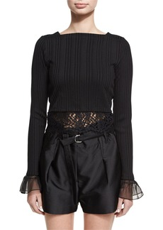 3.1 Phillip Lim Long-Sleeve Rib-Knit Cropped Top W/ Lace