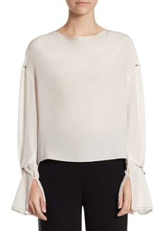 3.1 Phillip Lim Long-Sleeve Silk Draped Blouse