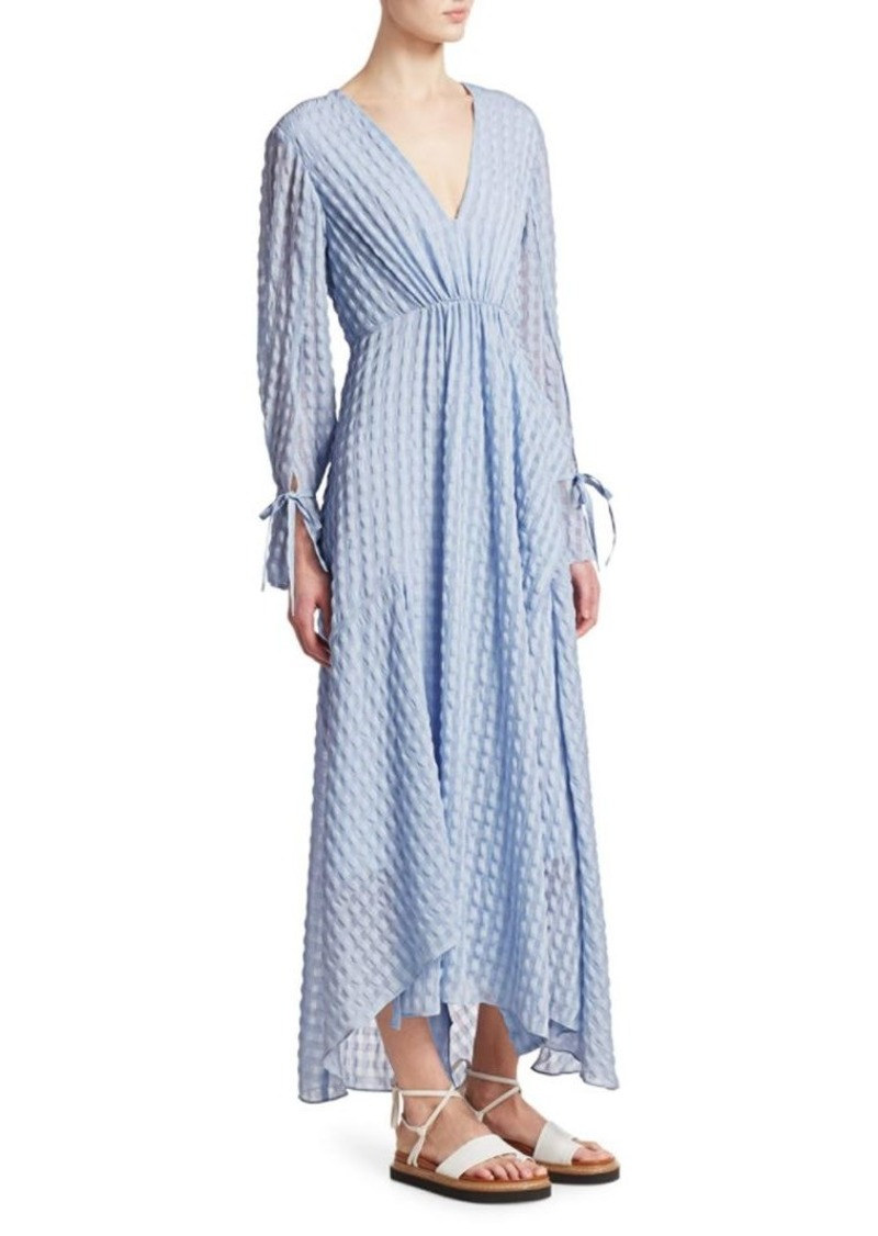3.1 Phillip Lim Long-Sleeve Textured Flare Maxi Dress