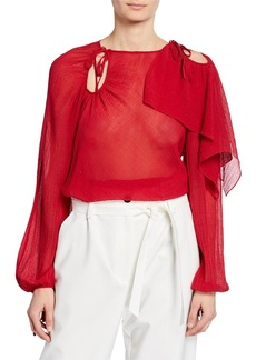 3.1 Phillip Lim Long-Sleeve Textured Keyhole Blouse