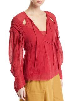 3.1 Phillip Lim Long-Sleeve Textured Keyhole Blouse