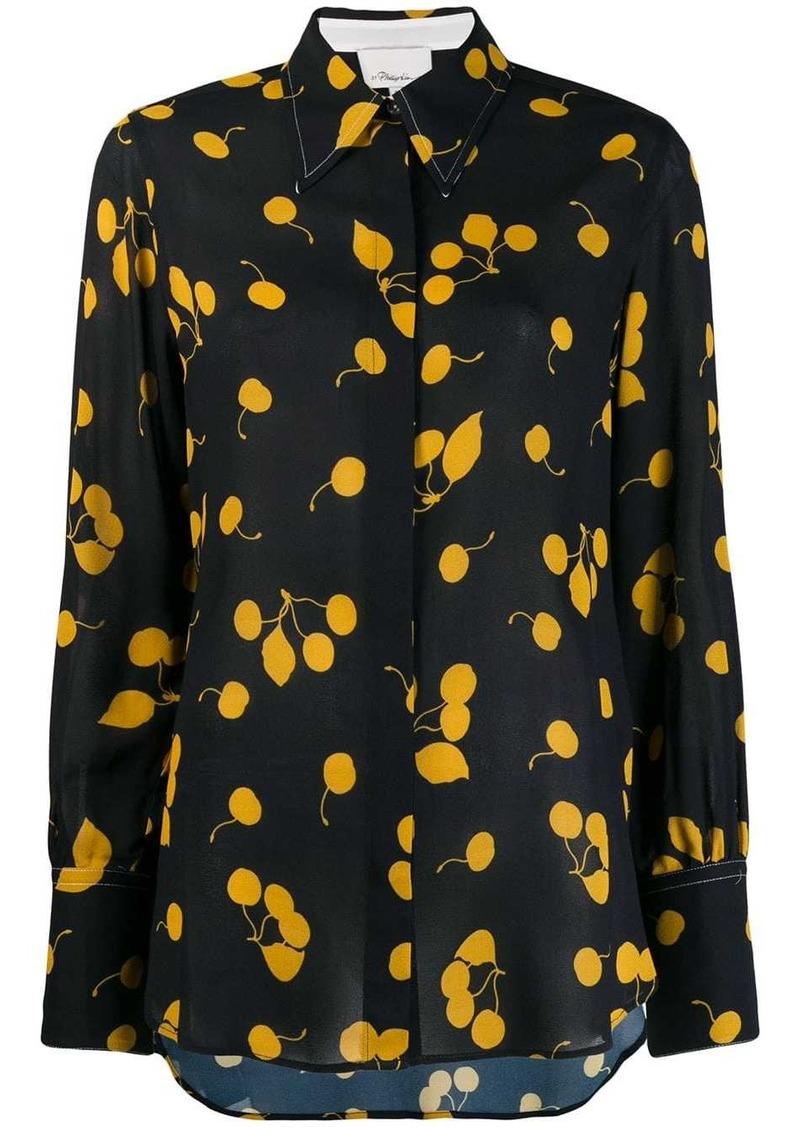 3.1 Phillip Lim Long-Sleeved Cerise Print Silk Blouse