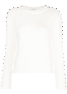 3.1 Phillip Lim LS BOAT NECK SWEATER W EMB SLVS
