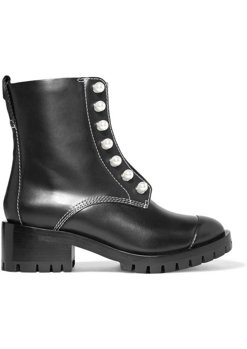 3.1 Phillip Lim Lug Sole Zipper Embellished Leather Ankle Boots
